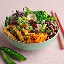 Bowl med ärter, ris och grönsaker