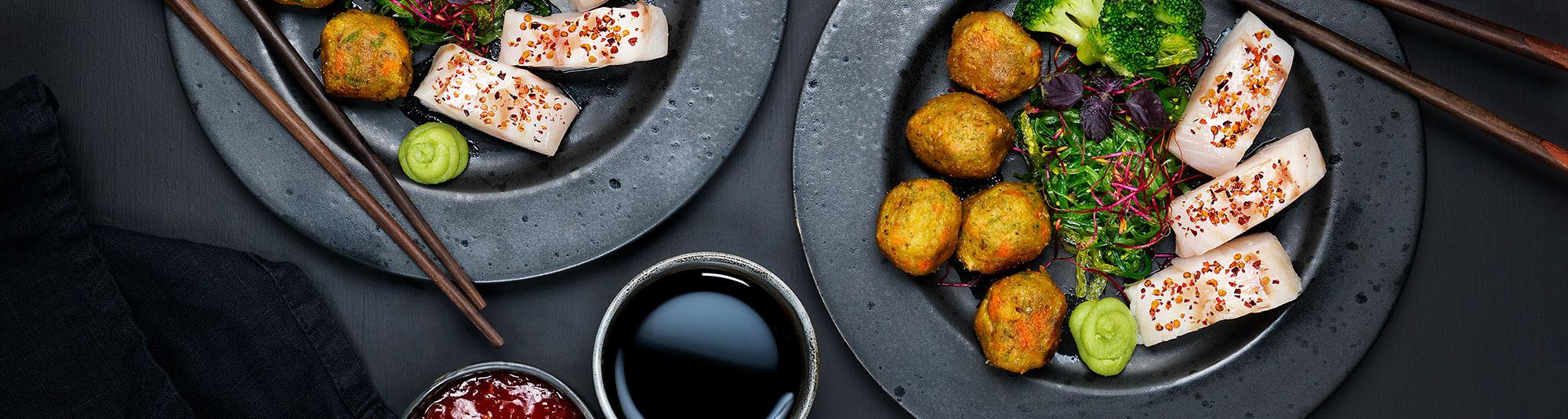 Torskrygg & asiatiska grönsaksbullar