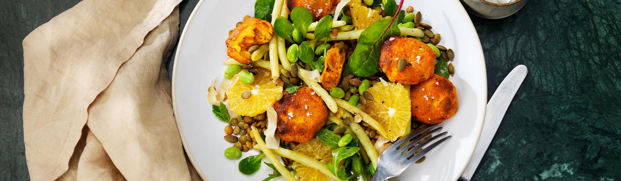 Ricottabiffar med risotto, sojabönor och solmogna tomater