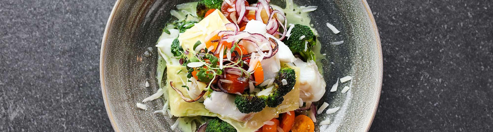 Öppen lasagne med torsk