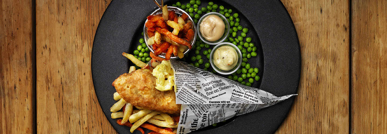 Fish and chips med rotfruktsstrips