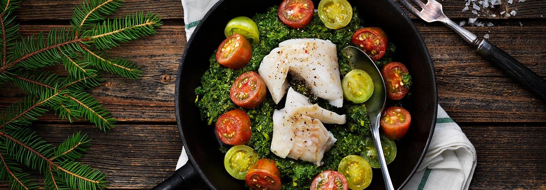 Rimmad torsk på grönkål