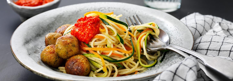 Falafel med spaghetti