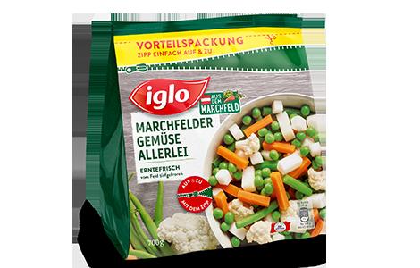 Tüte iglo Produkt Marchfelder Gemüse Allerlei