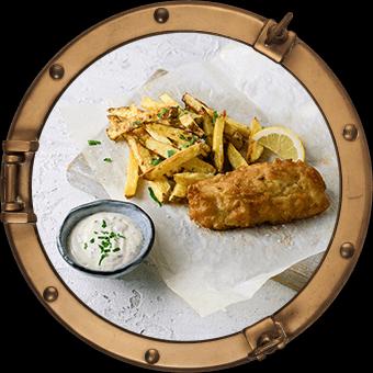 FISH & CHIPS MED ERTEPURÉ OG REMULADE