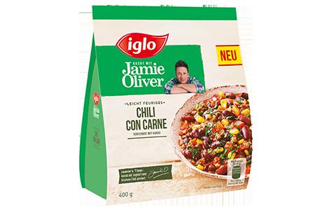Tüte iglo Produkt iglo kocht mit Jamie Oliver Chili con Carne