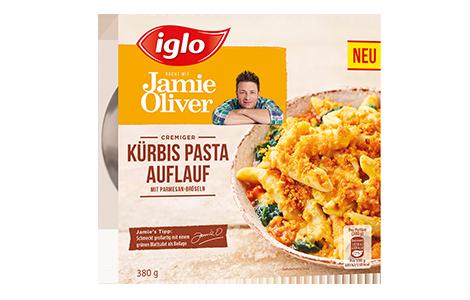 Packung iglo Produkt iglo kocht mit Jamie Oliver Kürbis Pasta Auflauf