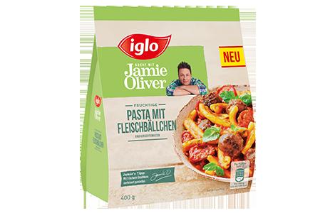 Tüte iglo Produkt iglo kocht mit Jamie Oliver Pasta mit Fleischbällchen