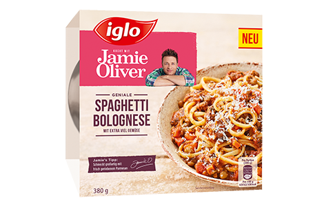 Packung iglo Produkt iglo kocht mit Jamie Oliver Spaghetti Bolognese