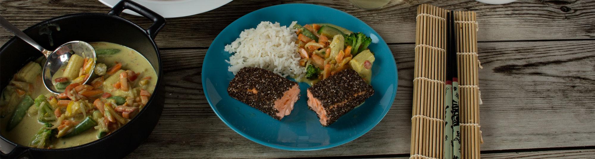 Iglo Rezept für Lachs mit Chia Samen Kruste und Thai Gemüse