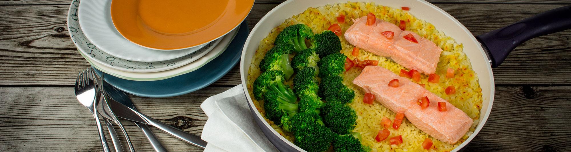 Iglo Rezept für One Pot Lachs mit Safranreis
