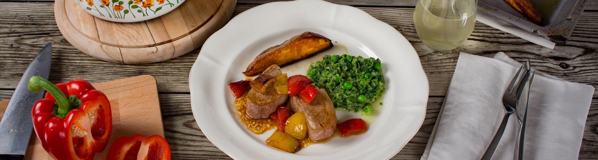 Iglo Rezept für Schweinefilet mit Kochsalat und Süßkartoffel
