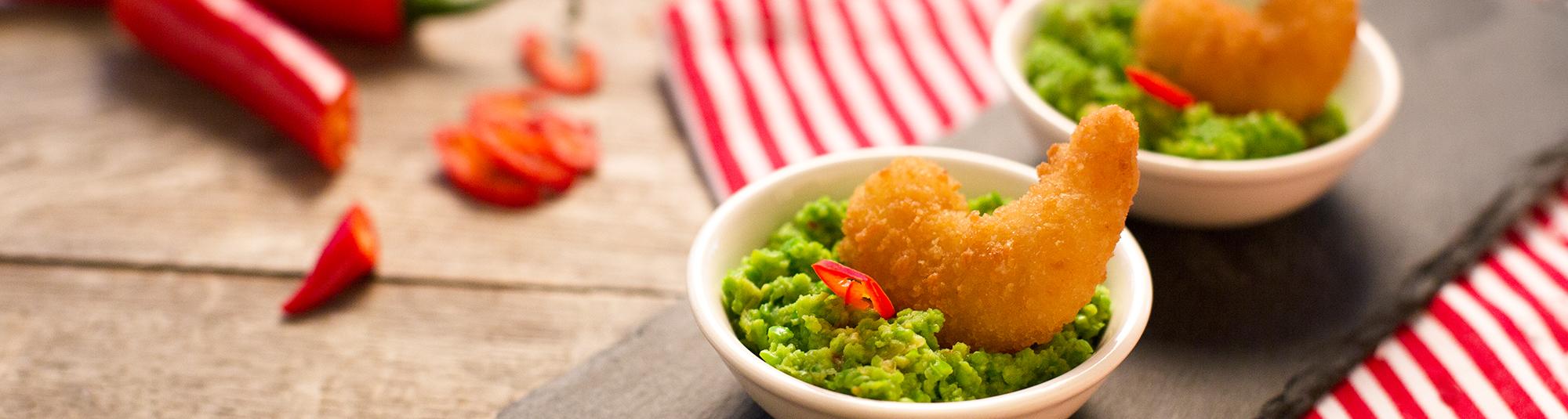Iglo Knuspergarnele mit Sweet Chili Erbsenpuree