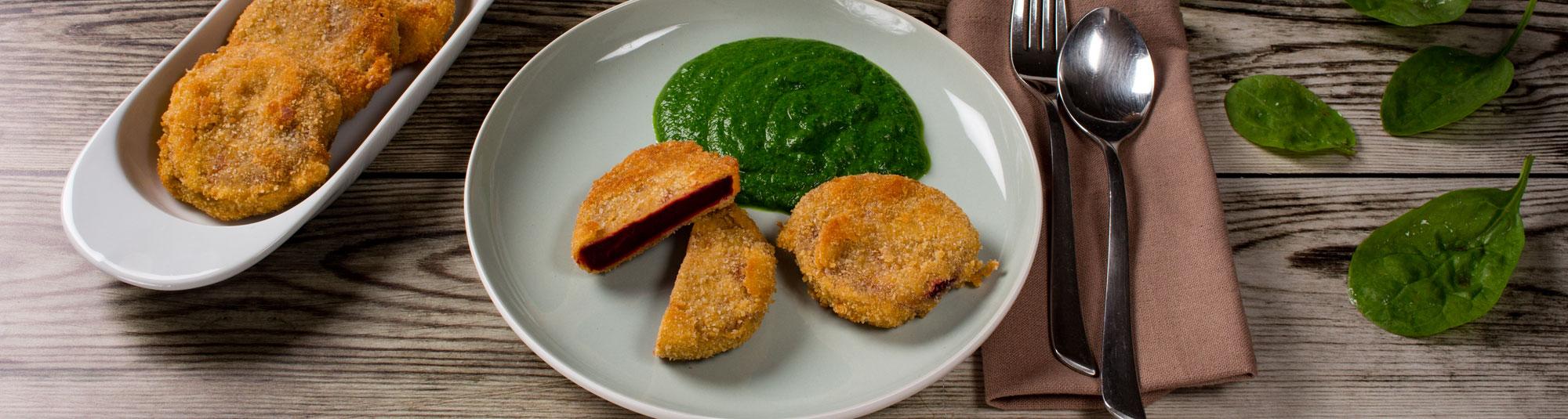 Iglo Cremespinat mit Rote Rüben Schnitzel (laktosefrei/vegan)