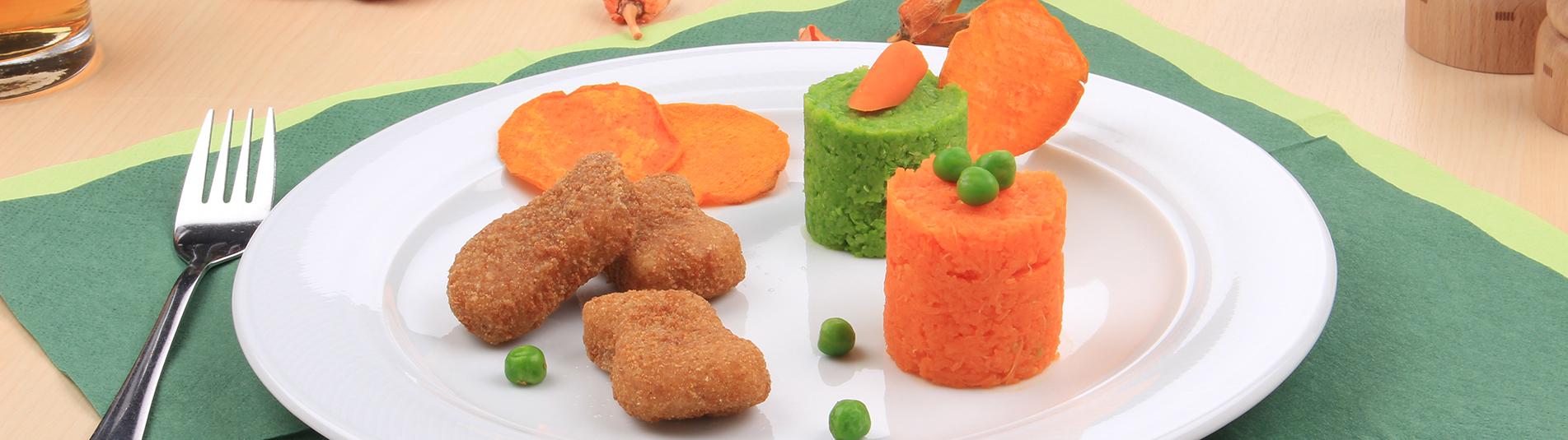 Iglo Karotten Erbsen Pueree mit Vollkorn Hühner Nuggets