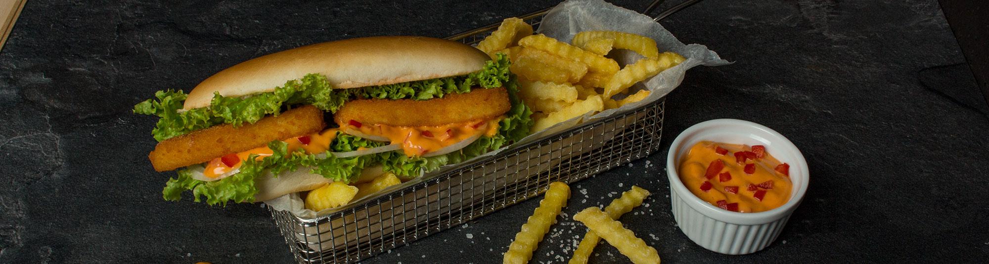 Iglo Fischstäbchen Hot Dog mit Cocktail Sauce