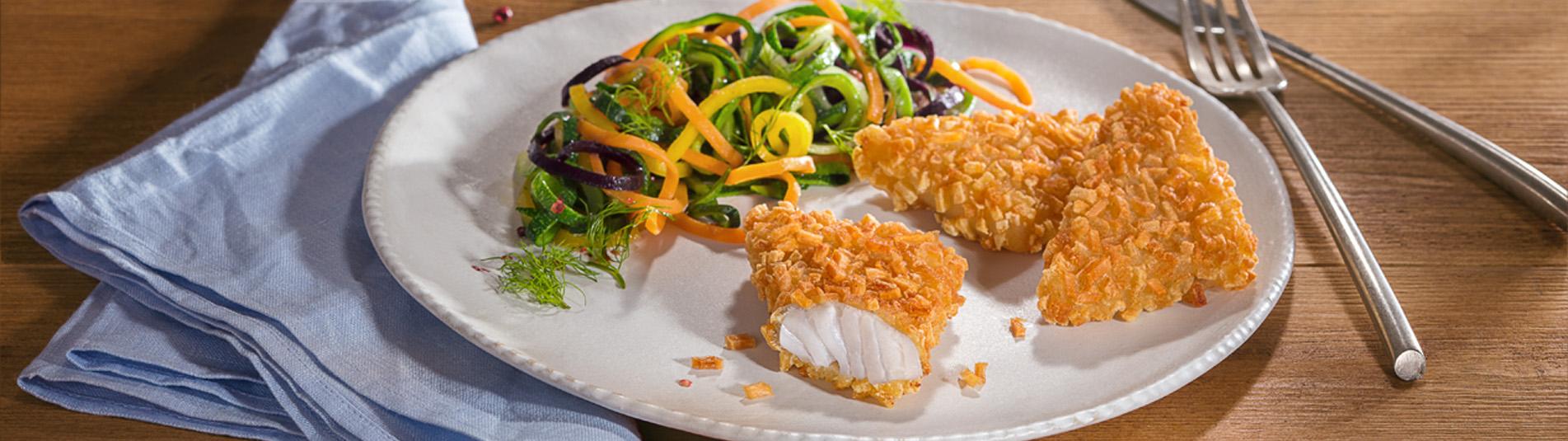 Fischrösti mit Gemüsenudeln