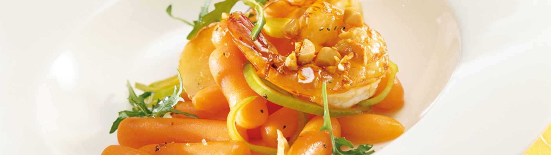 Ingwer Rezept mit lauwarmen Karotten und Garnelen