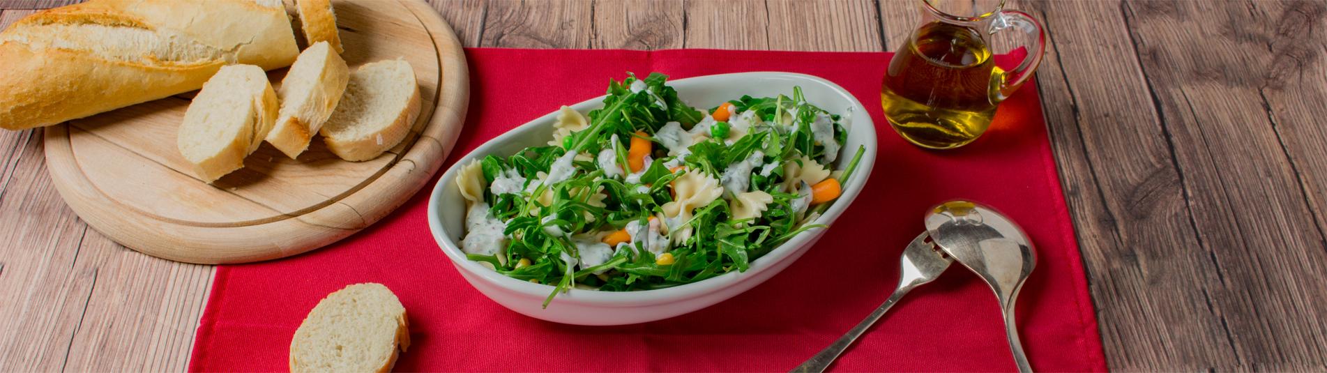 Iglo Nudelsalat mir Rucola und Gemüse Rezept