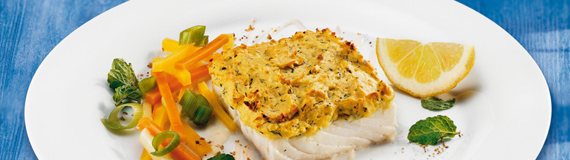 Polardorsch mit Kräuter-Erdäpfelkruste – ein einfaches Fischrezept für's Backrohr.