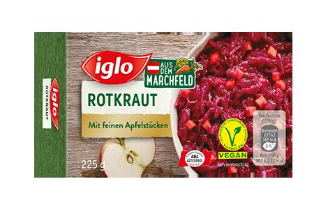 Iglo Sortiment Packungen Rotkraut mit Apfelstuecken