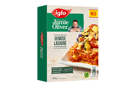 Iglo Sortiment Packungen Jamie Oliver Gemueselasagne