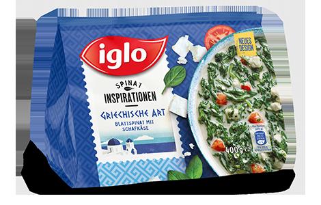 Iglo Sortiment Packungen Blattspinat griechisch