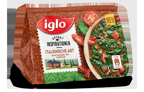 Iglo Sortiment Packungen Blattspinat Italienisch