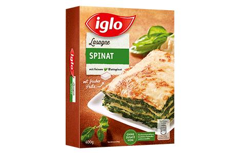 Iglo Sortiment Packungen Lasagne Spinat