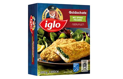 Packung iglo Produkt Goldschatz mit Spinat Füllung