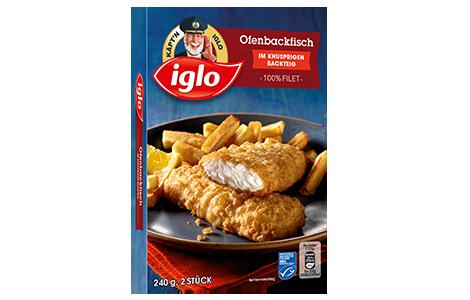 Packung iglo Produkt Ofenbackfisch im knusprigen Backteig