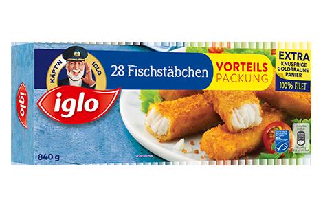Packung iglo Produkt 28 Fischstäbchen