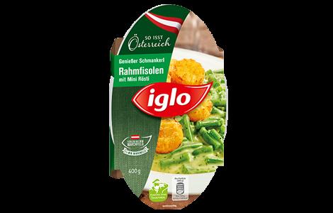 Iglo Marchfelder Rahmfisolen mit Mini Rösti Verpackung