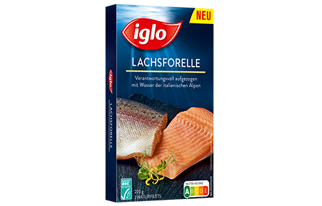 Iglo Sortiment Packungen Packshot Lachsforelle