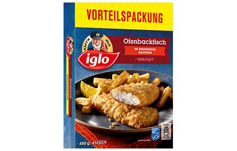 Packung iglo Produkt Ofenbackfisch