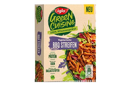 Packung iglo Produkt Green Cuisine Vegetarische BBQ Streifen