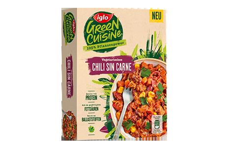 Packung iglo Produkt Green Cuisine Vegetarisches Chili sin Carne
