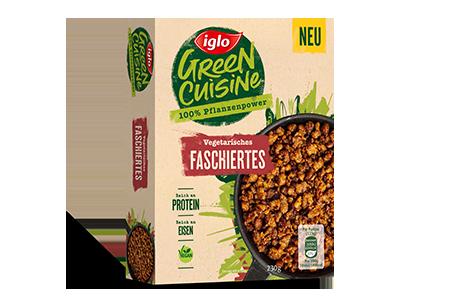 Packung iglo Produkt Green Cuisine Vegetarisches Faschiertes