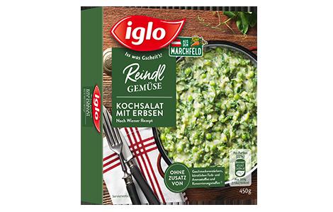 Packung iglo Produkt Reindl Gemüse Kochsalat mit Erbsen