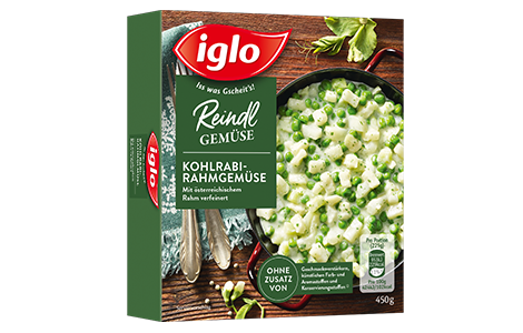 Packung iglo Produkt Reindl Gemüse Kohlrabi-Rahmgemüse