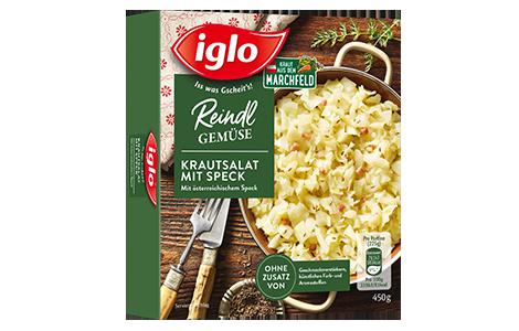 Packung iglo Produkt Reindl Gemüse Krautsalat mit Speck