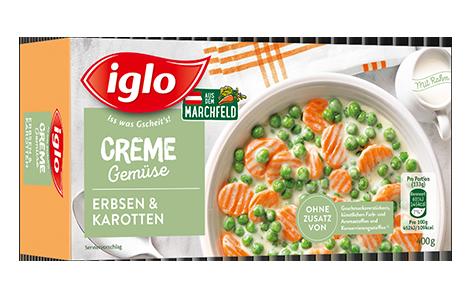 Packung iglo Produkt Creme Gemüse Erbsen und Karotten