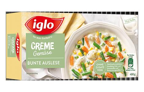 Packung iglo Produkt Creme Gemüse Bunte Auslese