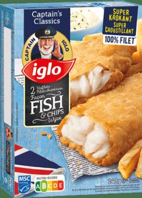 emballage filets de poisson façon fish et chips 2 pièces de captain iglo