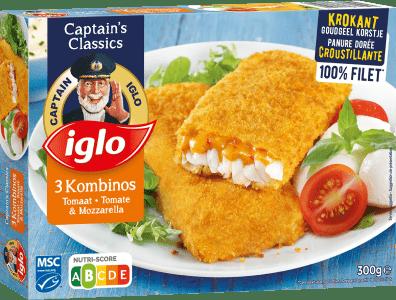 emballage kombinos tomate & mozzarella 3 pièces de captain iglo