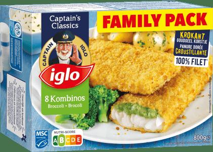 verpakking family pack kombinos met broccoli 8 stuks van captain iglo