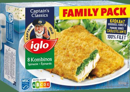 emballage family pack kombinos épinard 8 pièces de captain iglo