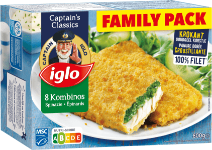 verpakking family pack kombinos met spinazie 8 stuks van captain iglo