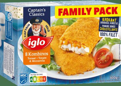 emballage family pack kombinos tomate & mozzarella 8 pièces de captain iglo