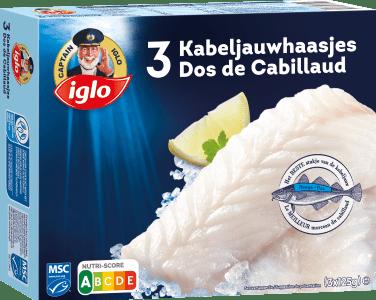 emballage Dos de Cabillaud nature 3 pièces de captain iglo